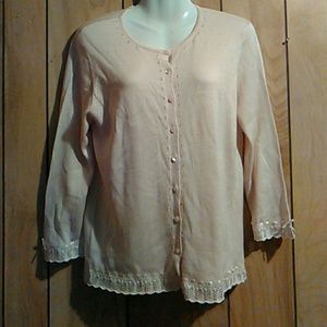 Liz claiborne silk blend button sweater